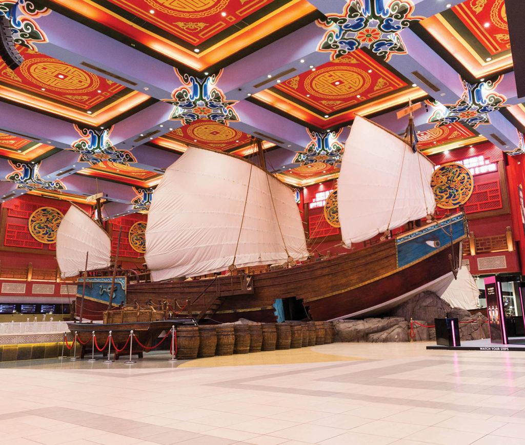 A model of the Chinese ship Ibn Battuta took on his journey, displayed at Ibn Battuta Mall, Dubai