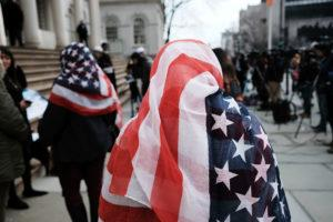 muslim woman wearing an American flag headscarf